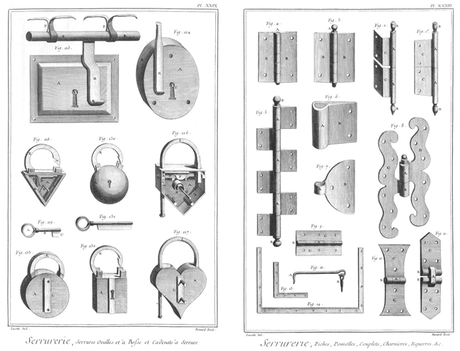 Two representative plates featuring metal objects from the Encyclopédie